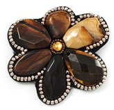Avalaya Gigantic Amber Coloured Acrylic Stone Flower Brooch (Catwalk - 2014)