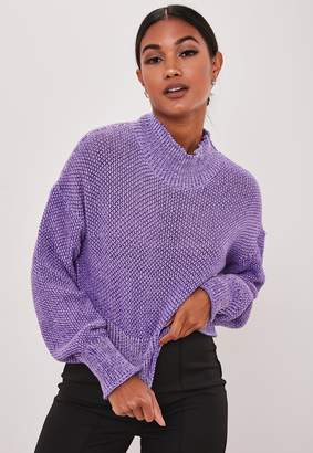 Missguided Purple Two Tone High Neck Cropped Jumper