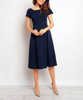 Navy Blue Square Neck A-Line Dress