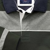 Charles Tyrwhitt Charcoal, olive and white stripe long sleeve rugby shirt