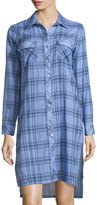 Neiman Marcus Long-Sleeve Plaid Shirtdress