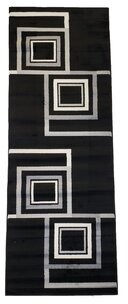 "Lorton Geometric Tufted Black/Gray Indoor/Outdoor Area Rug Ebern Designs Rug Size: Runner 2'7"" x 7'3"""