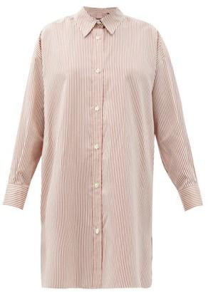 Isabel Marant Macali Striped Side-slit Silk Shirt - Red White