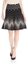 Max Studio Women's Flared, Printed Detail Sweater Skirt