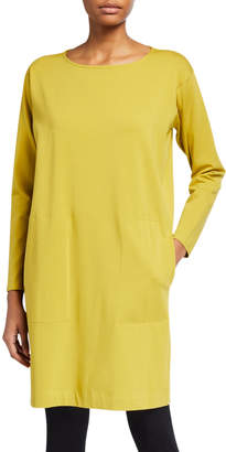 Eileen Fisher Plus Size Organic Cotton Stretch Jersey Shift Dress