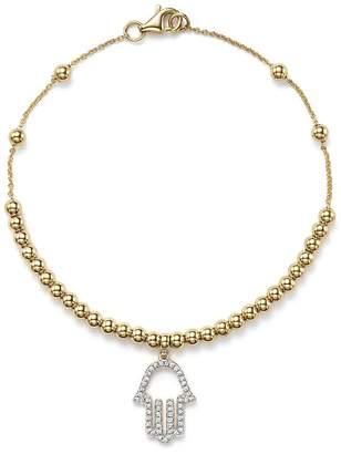 Bloomingdale's KC Designs Diamond Hamsa Beaded Bracelet in 14K Yellow Gold, .14 ct. t.w.