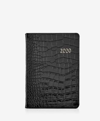 GiGi New York 2020 Notebook, Black Crocodile Embossed Leather