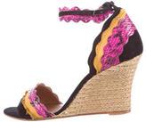 Lanvin Snakeskin-Trimmed Sandal Wedges