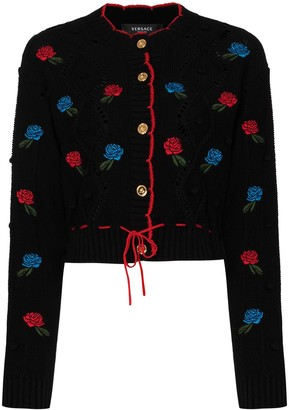 Versace Rose Embroidered Cardigan