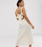 Asos DESIGN Petite knot front linen maxi dress with tie back