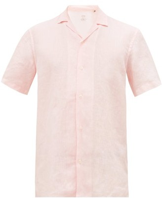 Altea Cuban-collar Slubbed-linen Poplin Shirt - Mens - Pink