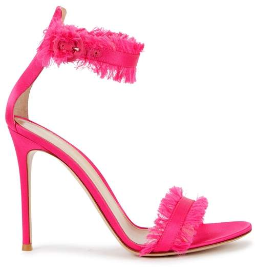 Gianvito Rossi Caribe 105 Fringed Satin Sandals