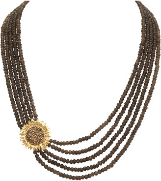 Michael Aram Vincent Silver Smokey Quartz Necklace