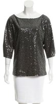 Tibi Pleat-Accented Sequin Top