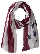 D&Y Women's Americana Flag with Flower Print Scarf
