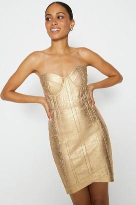 Coast Metallic Bandeau Knitted Dress