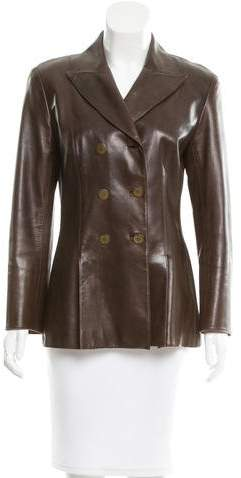 Chanel Leather Double-Breasted Jacket