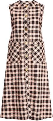 Gucci Check Wool Tweed Midi Dress