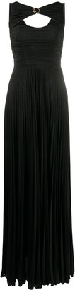 Elisabetta Franchi Round Neck Pleated Gown