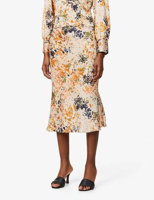 NEVER FULLY DRESSED Bloom slip satin-crepe midi skirt