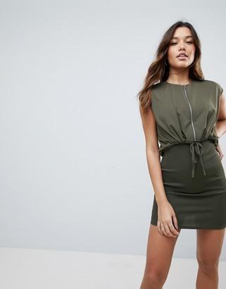 Asos Design Mini Bodycon Dress With Jacket-Green