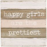 "Mud Pie Happy Girls Are the Prettiest"" Wood Plank Wall Art"