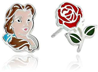 Disney Beauty and the Beast Sterling Mismatched Belle and Rose Stud Earrings