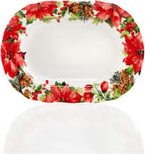 222 Fifth Winter Poinsettia Dinnerware Collection Oval Platter