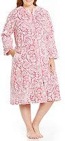 Miss Elaine Plus Damask Luxe Fleece Zip Robe
