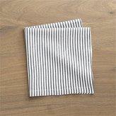 Crate & Barrel Liam Grey Striped Linen Cloth Dinner Napkin