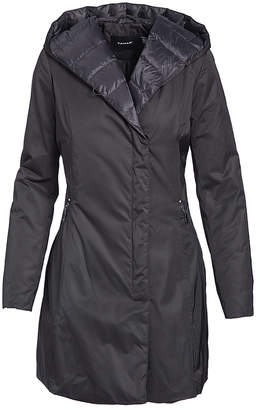 T Tahari Women's Rain Coats BLACK - Black Hooded Quilted Jacket - Women