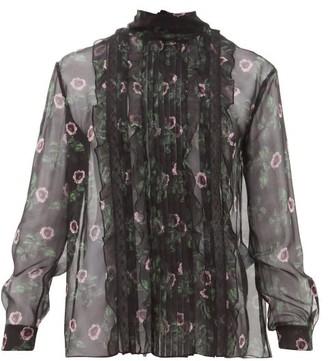 Valentino Lip Floral-print Pleated Silk-chiffon Blouse - Womens - Black Multi