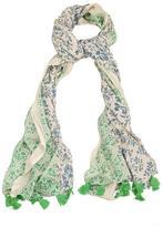 Yumi Reversible Print Tassel Scarf Green