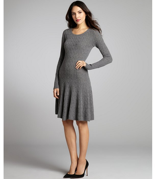 Autumn Cashmere bankers grey cashmere cable knit flared sweater dress