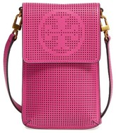 Tory Burch Perforated Leather Smartphone Crossbody Bag - Pink