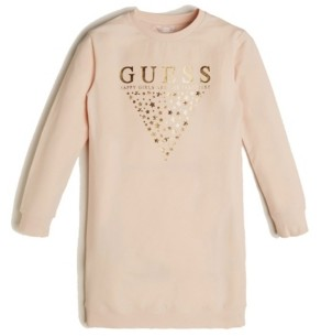 GUESS Big Girl's Long Sleeve French Terry Dress with Bling Graphic Logo