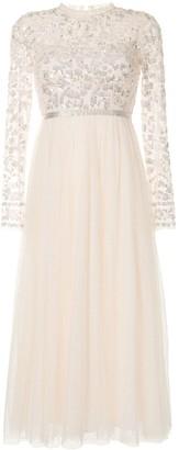 Needle & Thread Sequin-Embroidery Tulle Midi Dress