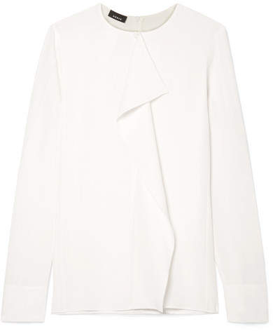 Akris Ruffled Silk-crepe Top - White