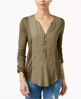 Lucky Brand Mixed-Media Roll-Tab Top