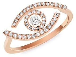 Messika Lucky Eye 18K Rose Gold & Pave Diamond Ring