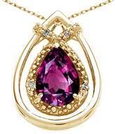 Tommaso design Studio Tommaso Design Pear Shape 8x6mm Genuine Rhodolite and Diamond Pendant 14k