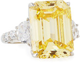FANTASIA Emerald-Cut Canary Yellow CZ Cocktail Ring
