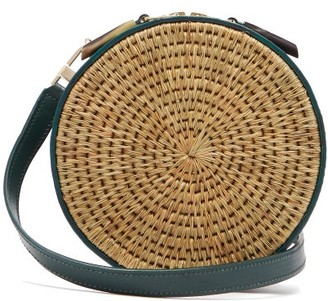 Khokho - Sindi Leather-trimmed Basket Bag - Dark Green Multi
