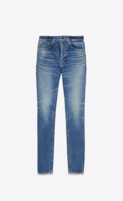 Saint Laurent Skinny Jeans In Worn Medium Blue Stretch Denim Worn Medium Blue 26