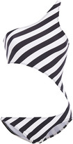 Thumbnail for your product : Norma Kamali Shane One-shoulder Cutout Striped Swimsuit