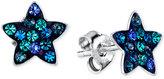 Unwritten Blue Crystal Star Stud Earrings in Sterling Silver