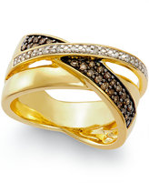 Macy's Diamond Crossover Ring (1/3 ct. t.w.) in 14k Gold Vermeil