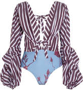 Johanna Ortiz - Floure Striped Cotton-blend Poplin And Printed Jersey Bodysuit - Purple