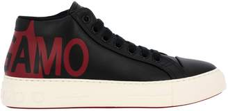 Salvatore Ferragamo Sneakers Lace-up Sneakers In Genuine Smooth Leather With Gancini Rubber Sole