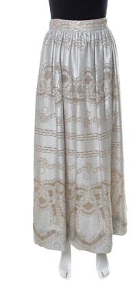 Temperley London Silver Metallic Silk Blend Pearl Maxi Skirt S